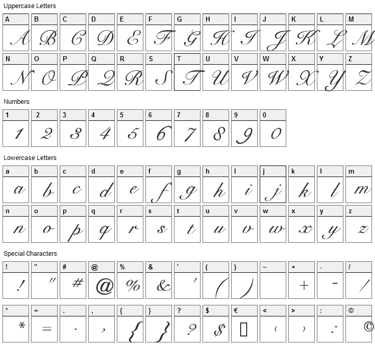 Cygnet Round Font Character Map