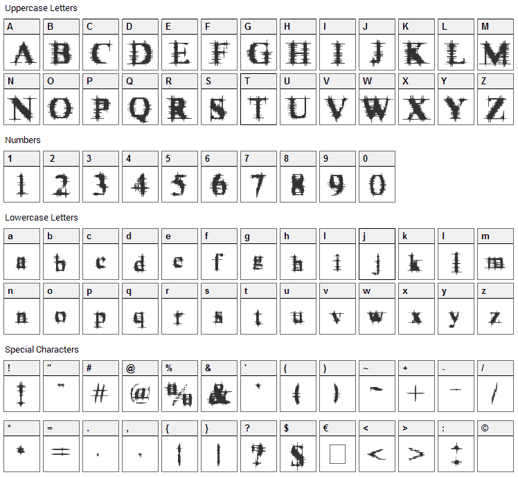 Cymptums Font Character Map
