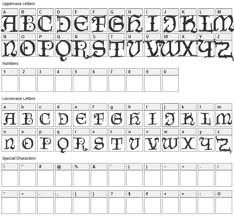 Czech Gotika Font Character Map