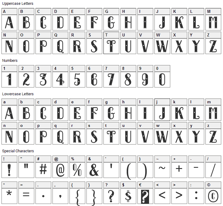 Dacquoise Font Character Map