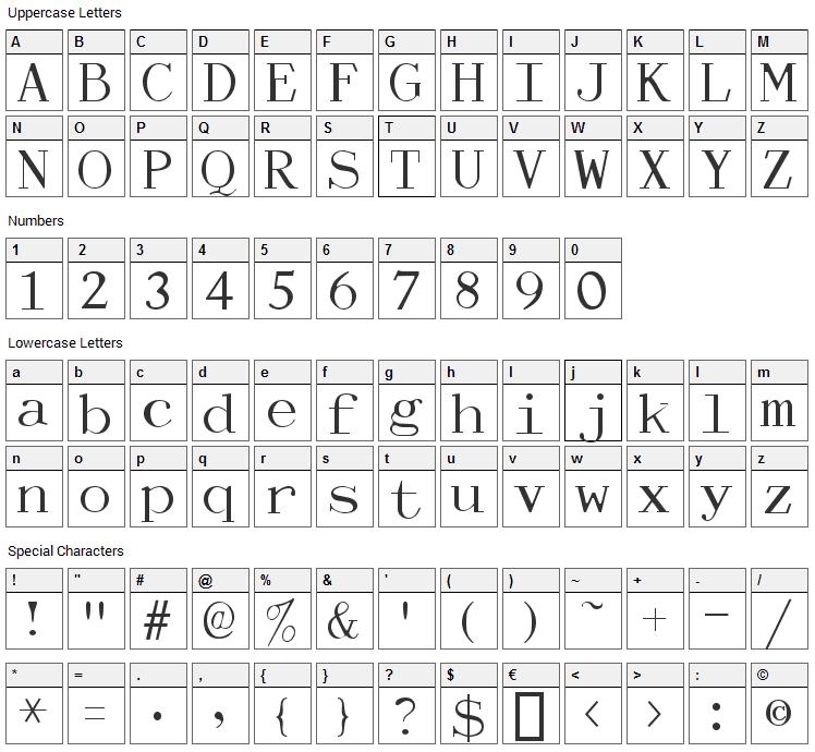 Dactylographe Font Character Map