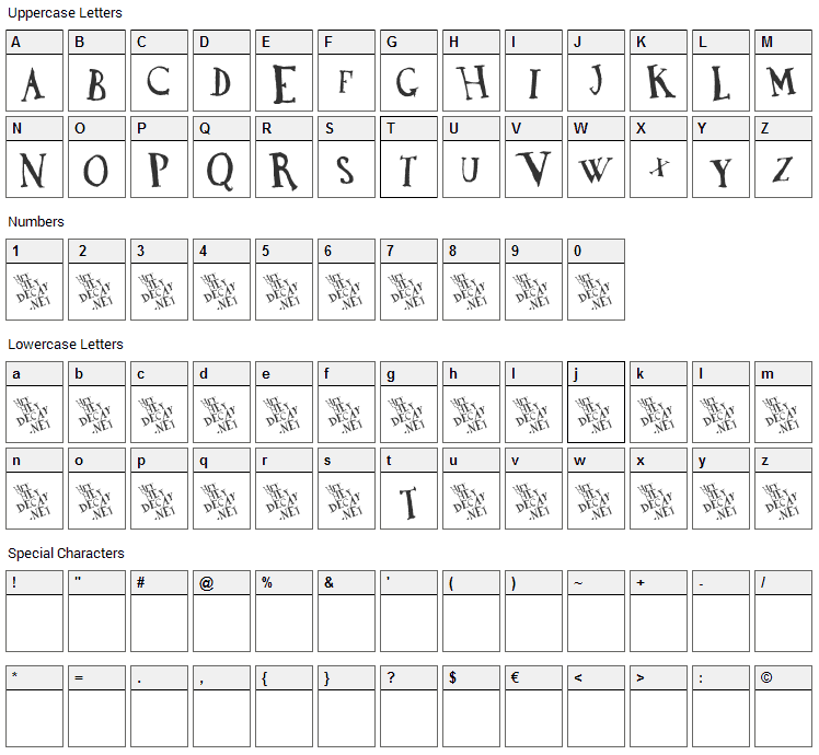 DaDa Antiquerist Font Character Map
