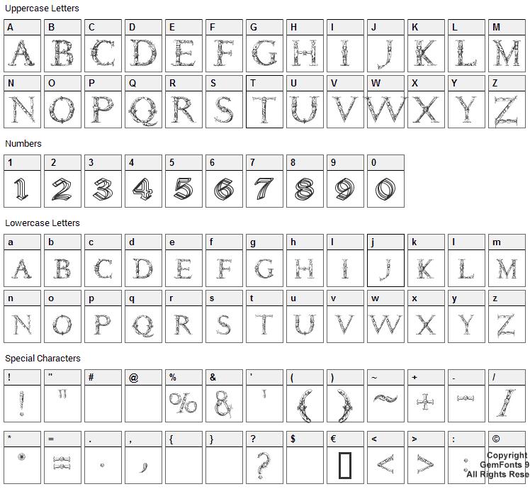 Daemonesque Font Character Map