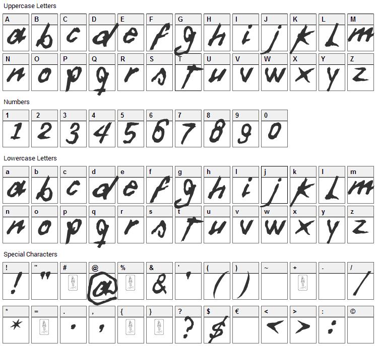 Daft Font Character Map