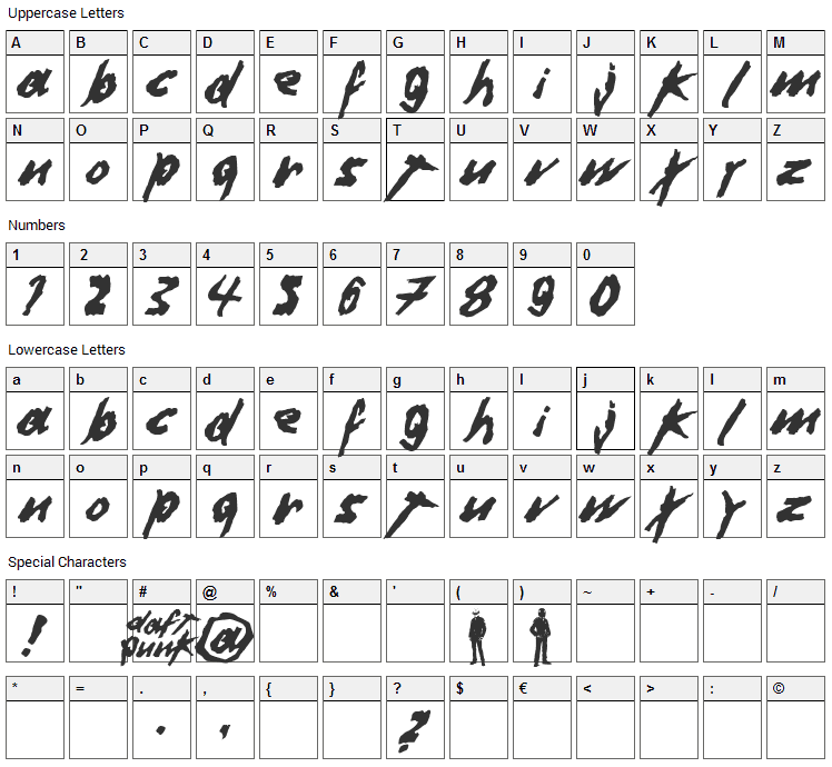 Dafter Harder Better Stronger Font Character Map