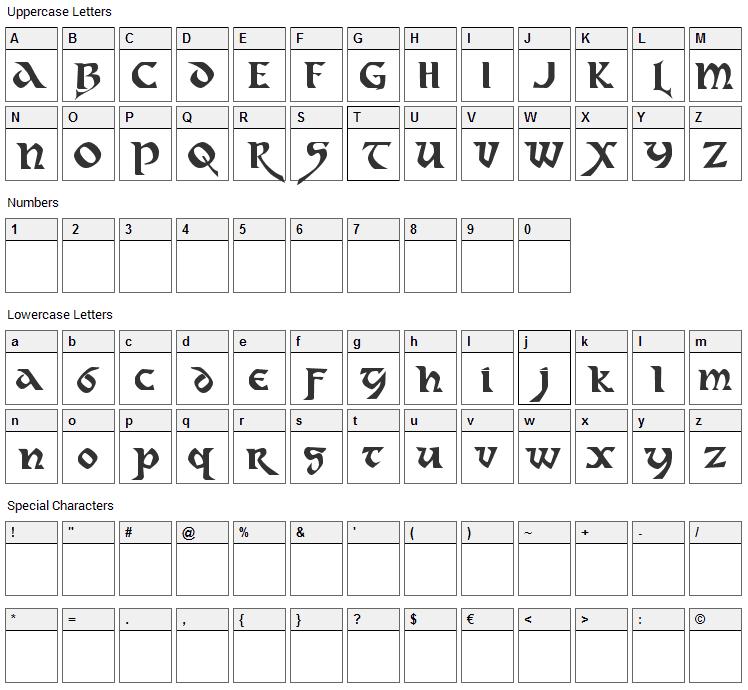 Dahaut Font Character Map