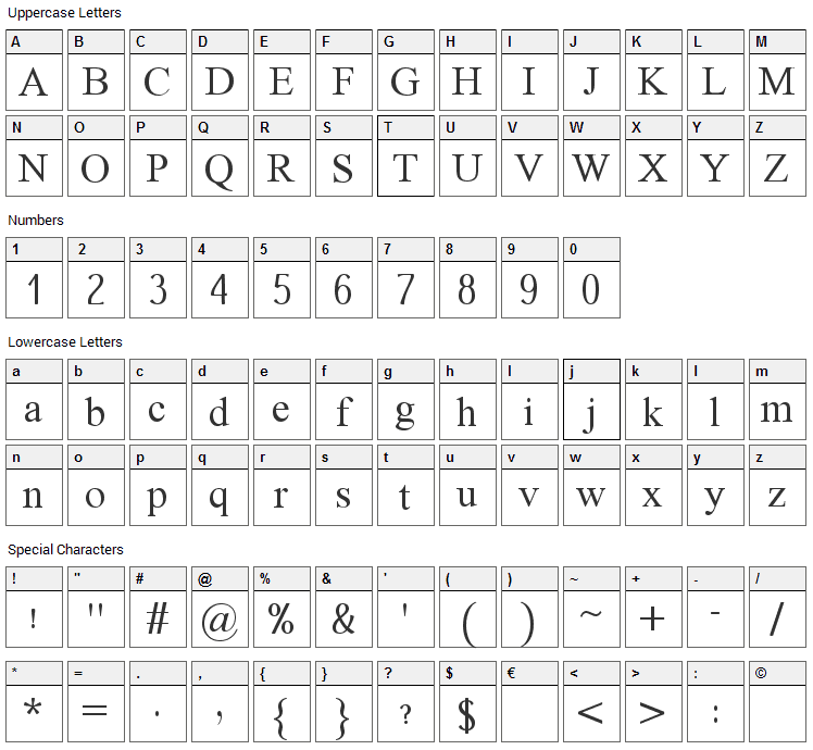 Dai Banna Font Character Map