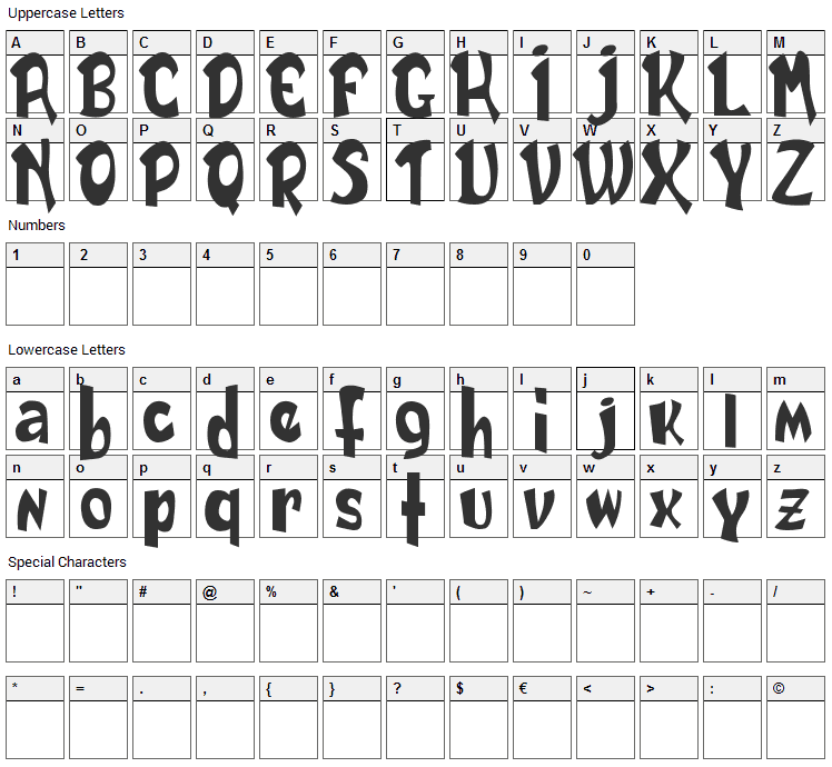 Daily Font Character Map