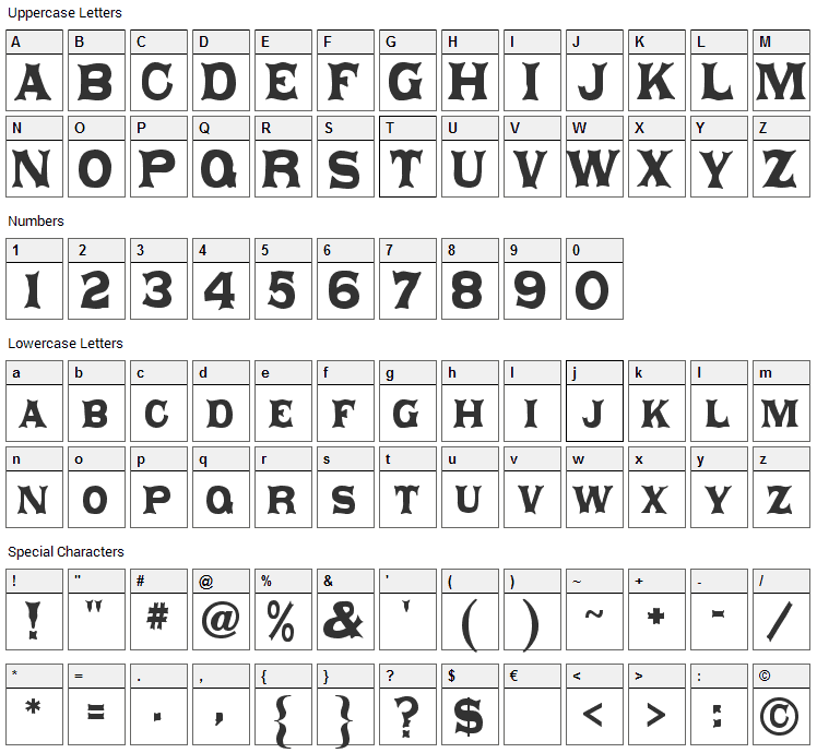 Daisy Font Character Map