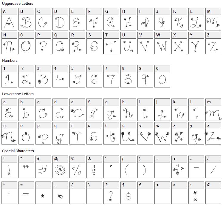 Daisy Mae Font Character Map