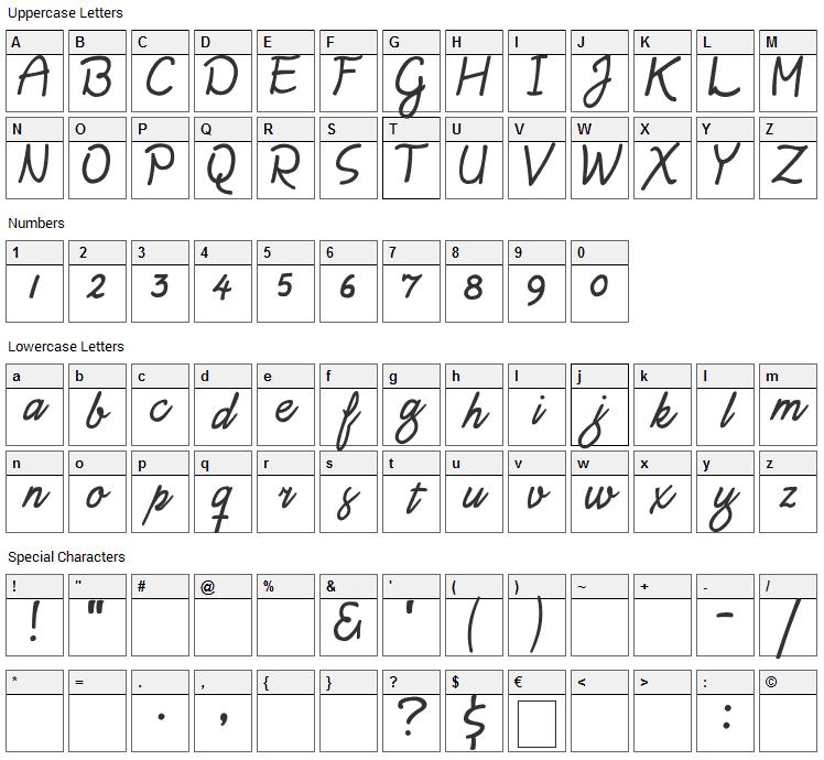 Daisy Script Font Character Map