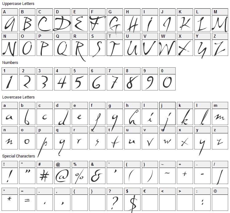 Dali Font Character Map