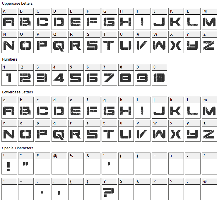 Damage Inc Font Character Map