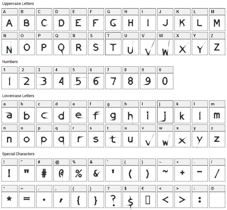 Damaged Sata Font Character Map