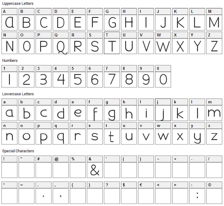 Damai Pelajar Font Character Map