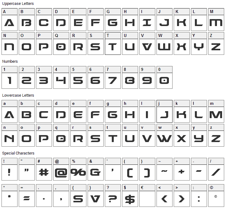 Dameron Font Character Map