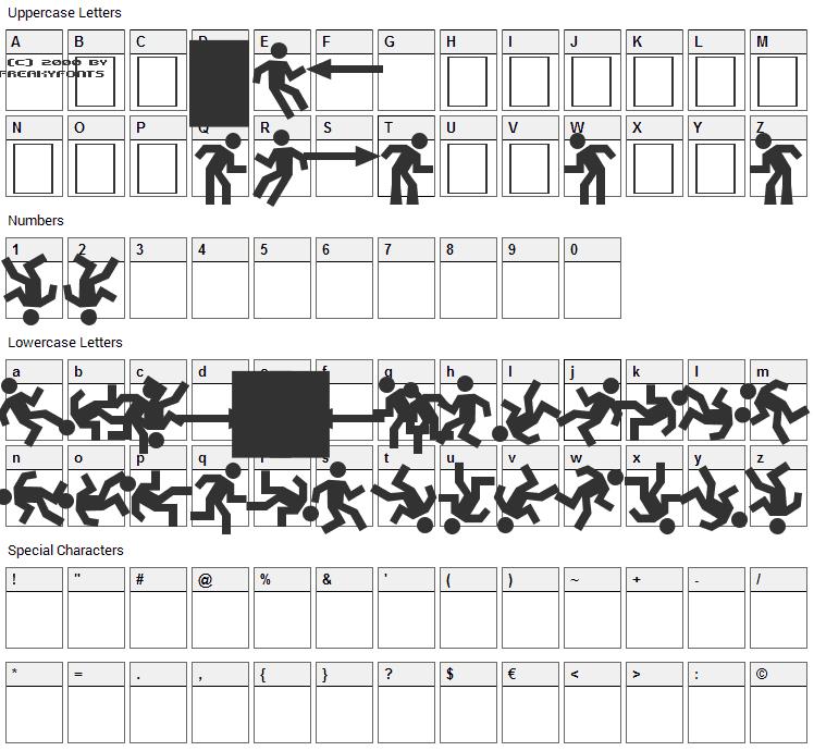 Dancefloor Exit Font Character Map