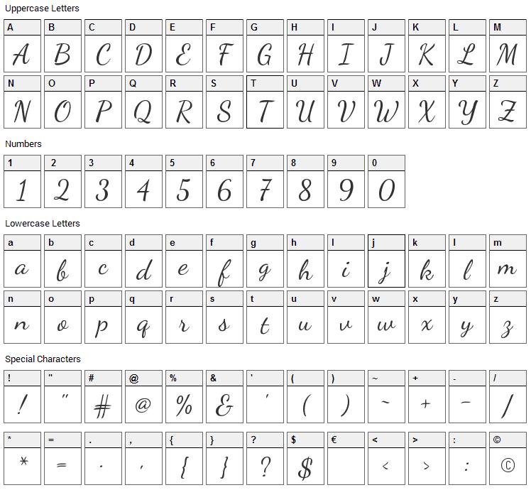 Dancing Script Font Character Map