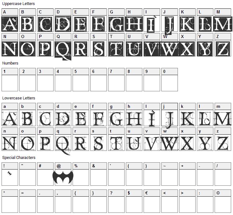 Dancing Vampyrish Font Character Map