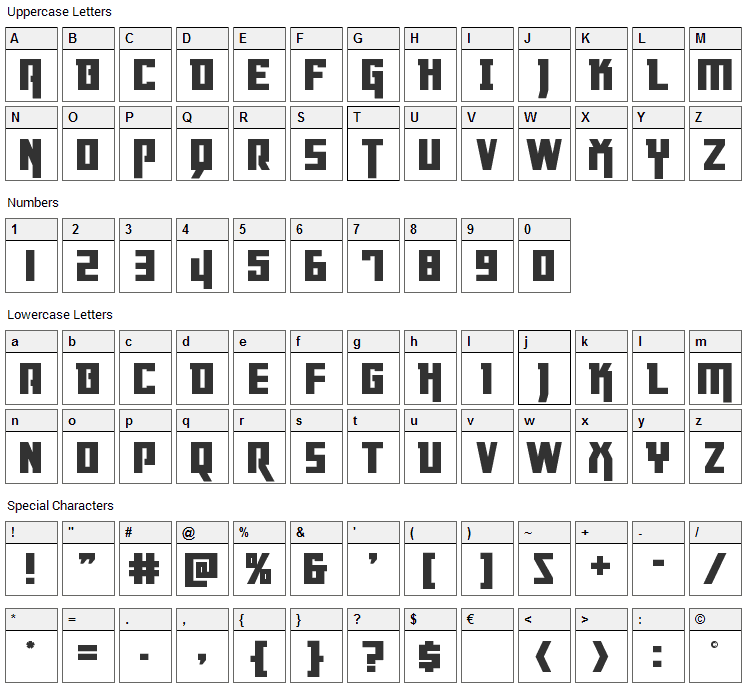 Danger Flight Font Character Map