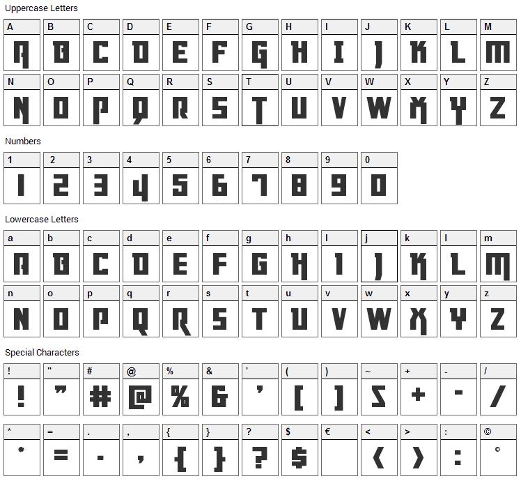 Danger Flight Font Character Map
