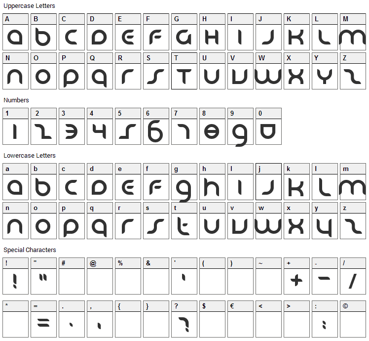 Danube Font Character Map