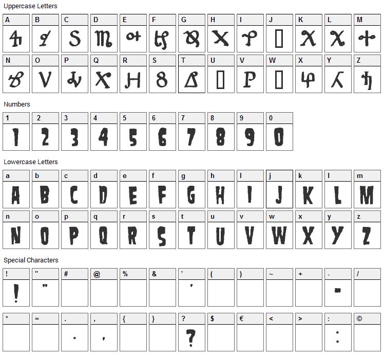 Danzig 4P Font Character Map