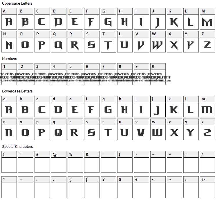 Daredevil Font Character Map