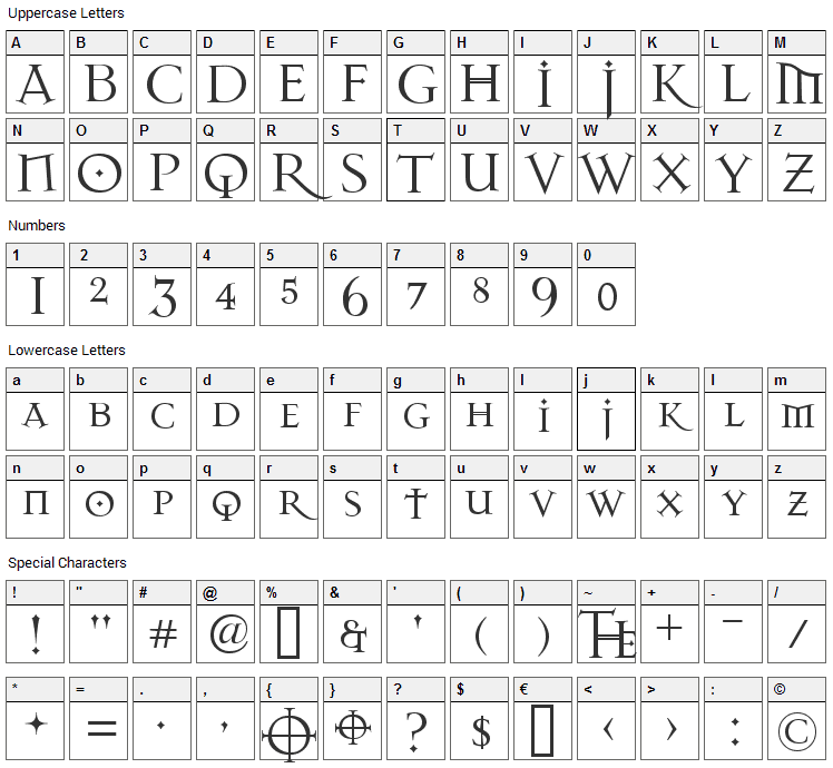 Dark 11 Font Character Map