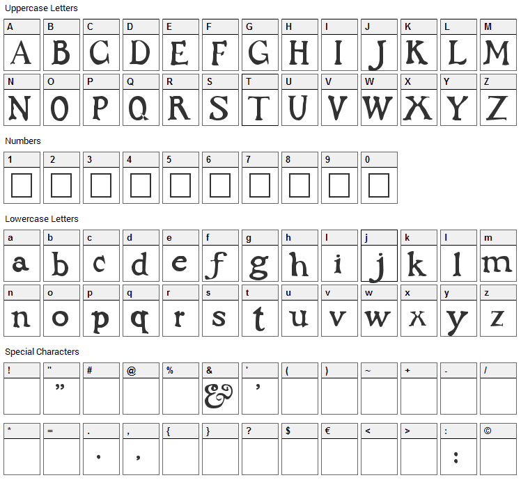 Dark Ages Font Character Map