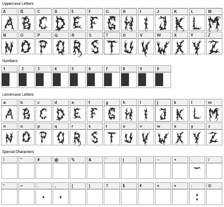 Dark Garden Font Character Map