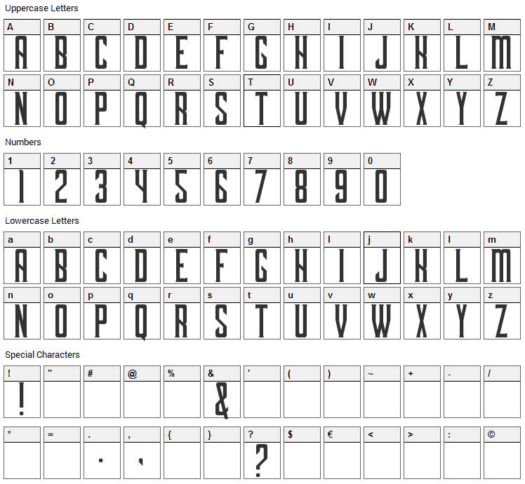 Dark Ministry Font Character Map