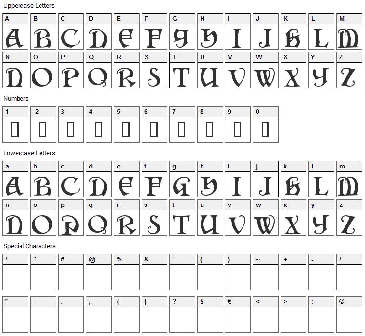 Darkenstone Font Character Map
