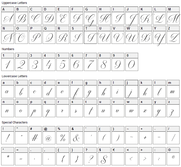 Darleston Font Character Map