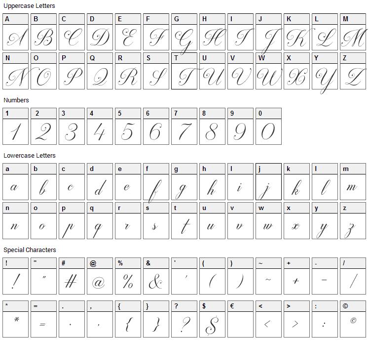 Darleston Font Character Map