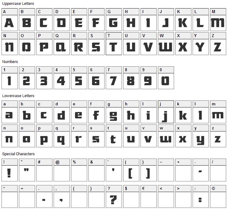 Das Modern Font Character Map