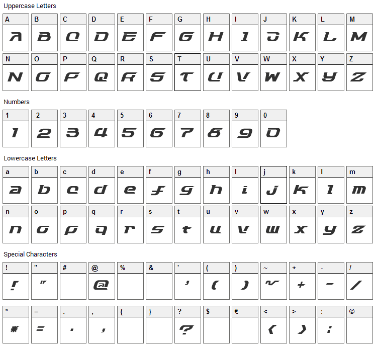 Dash 9812 Font Character Map
