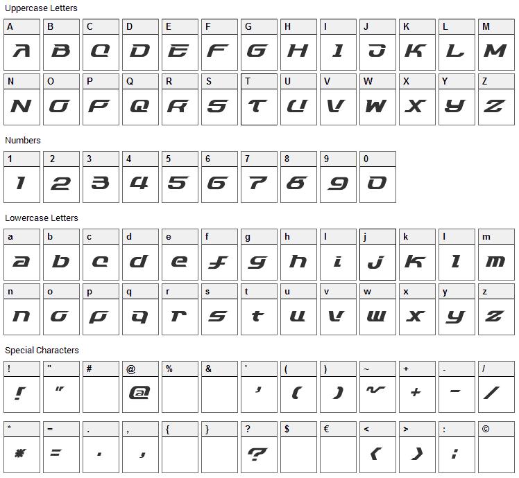 Dash 9812 Font Character Map