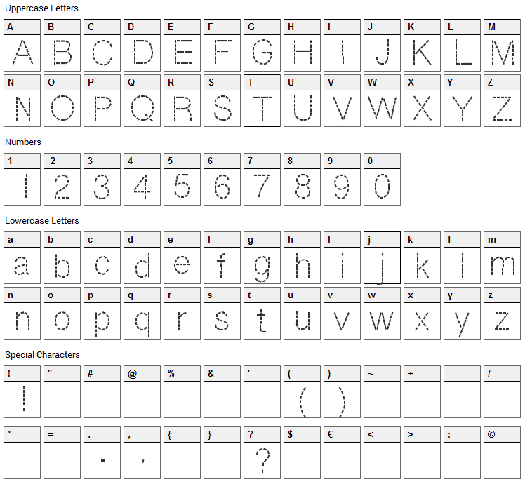 DashNess Font Character Map