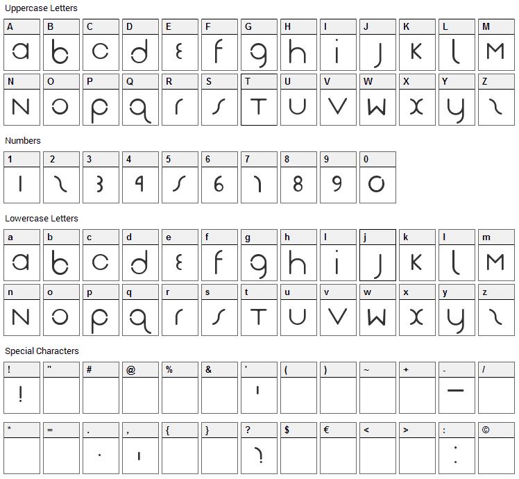 DasReicht Gut Font Character Map