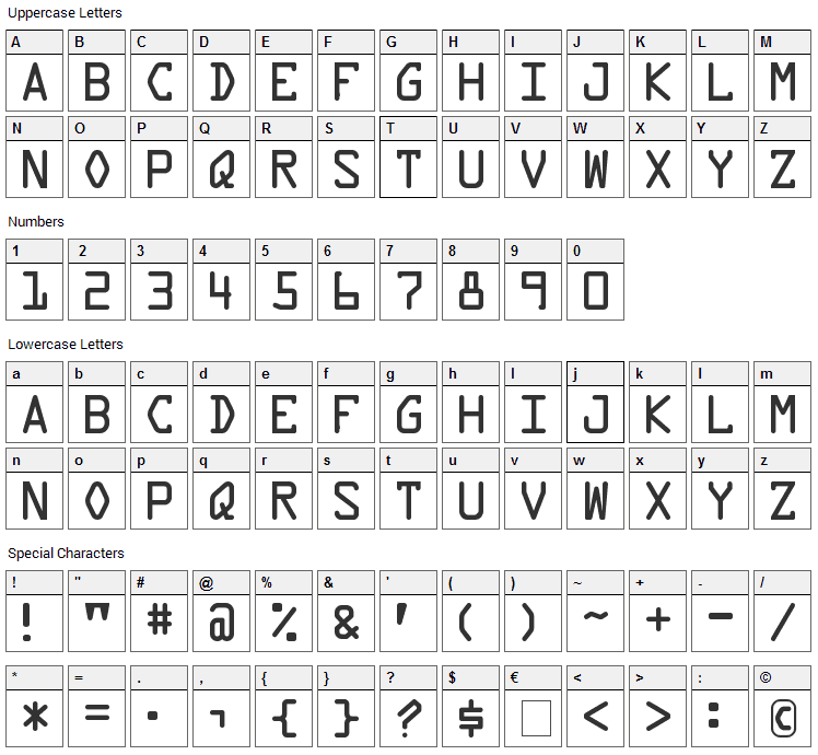 Data Control Font Character Map