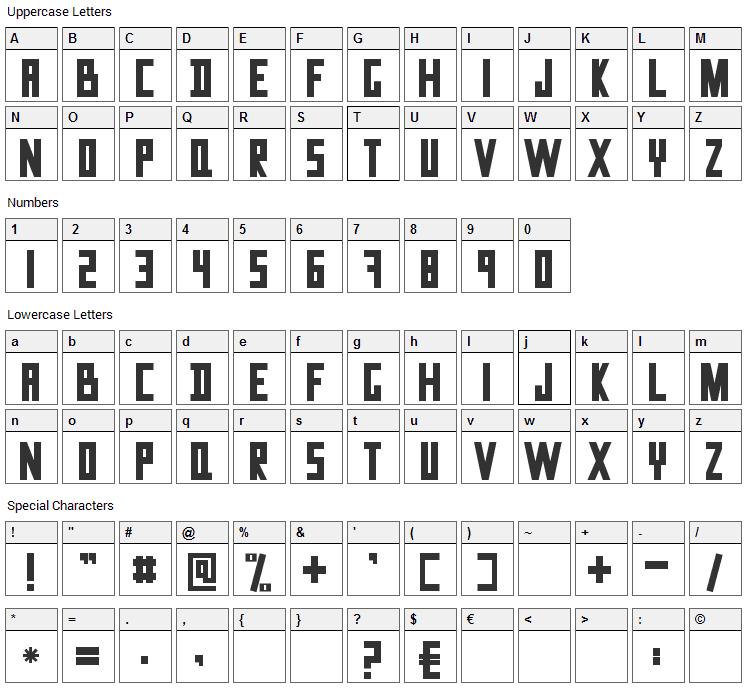 Data Trash Font Character Map