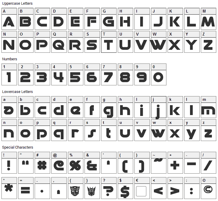 Datacron Font Character Map