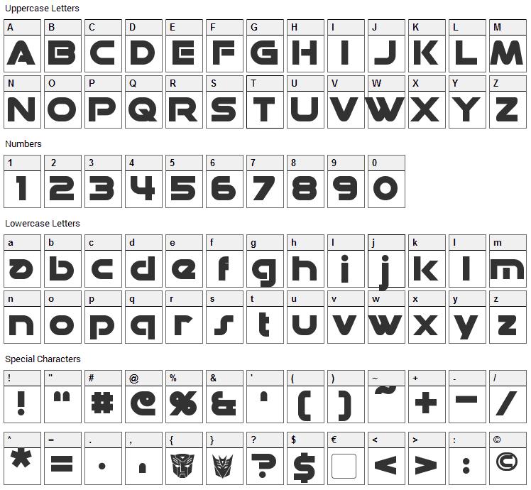 Datacron Font Character Map