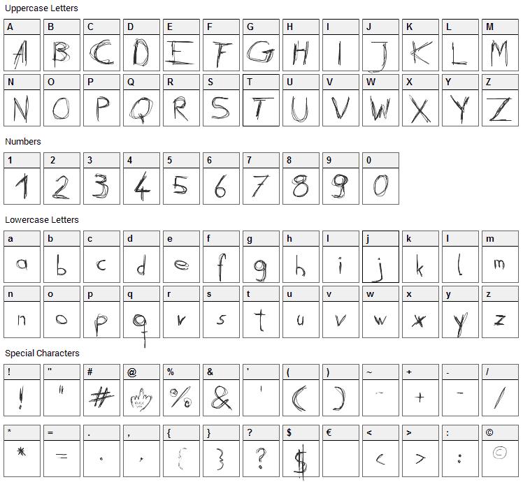 Daubed Font Character Map
