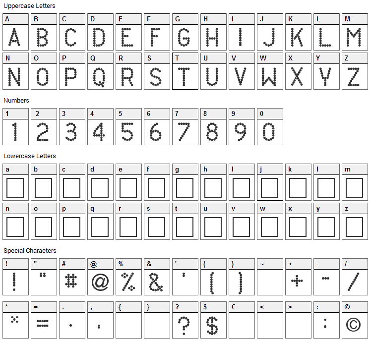 Daughty Font Character Map