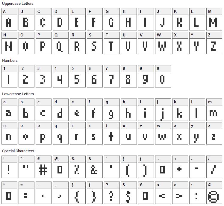 David Device Font Character Map