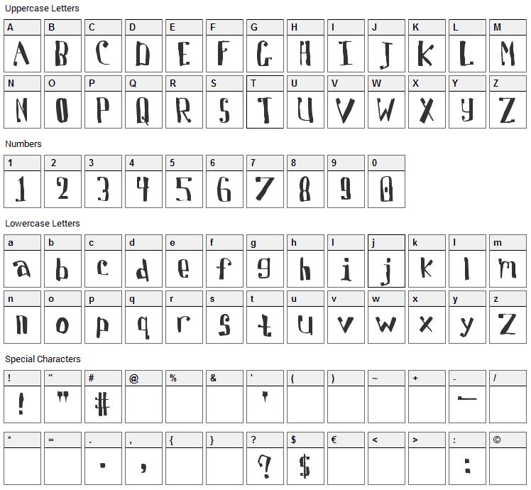 Davis Font Character Map