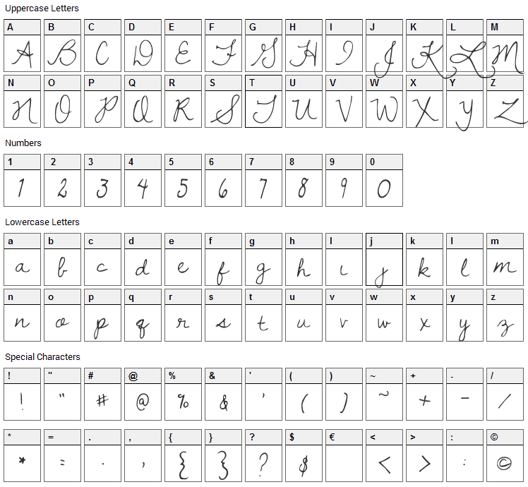 Dawning of a New Day Font Character Map