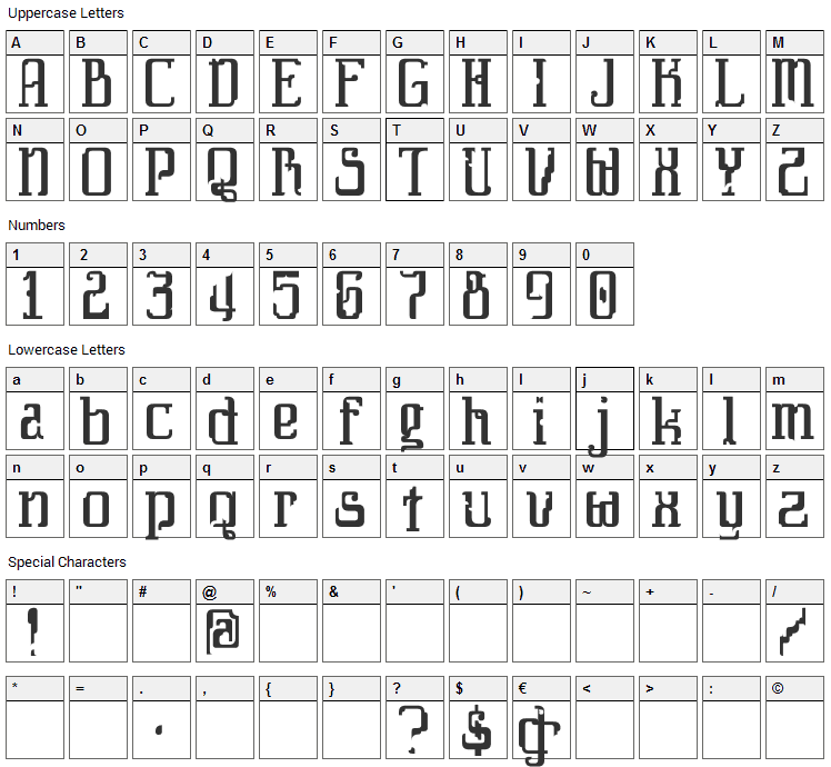 Daybreaker Font Character Map